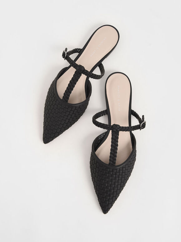 Woven T-Bar Flats, Black, hi-res