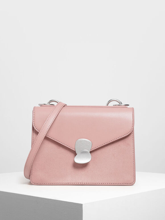 Metal Push Lock Front Flap Bag, Pink, hi-res