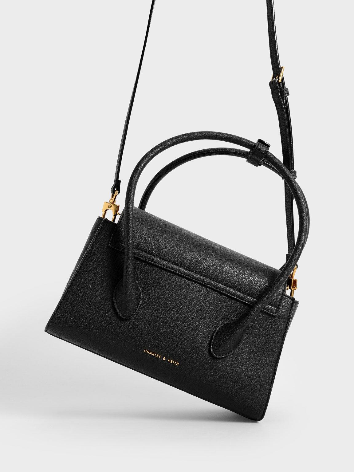 Double Handle Push-Lock Bag, Black, hi-res