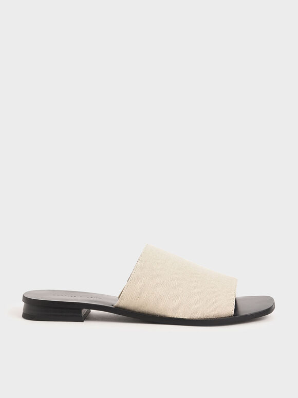 Canvas Slide Sandals, Beige, hi-res