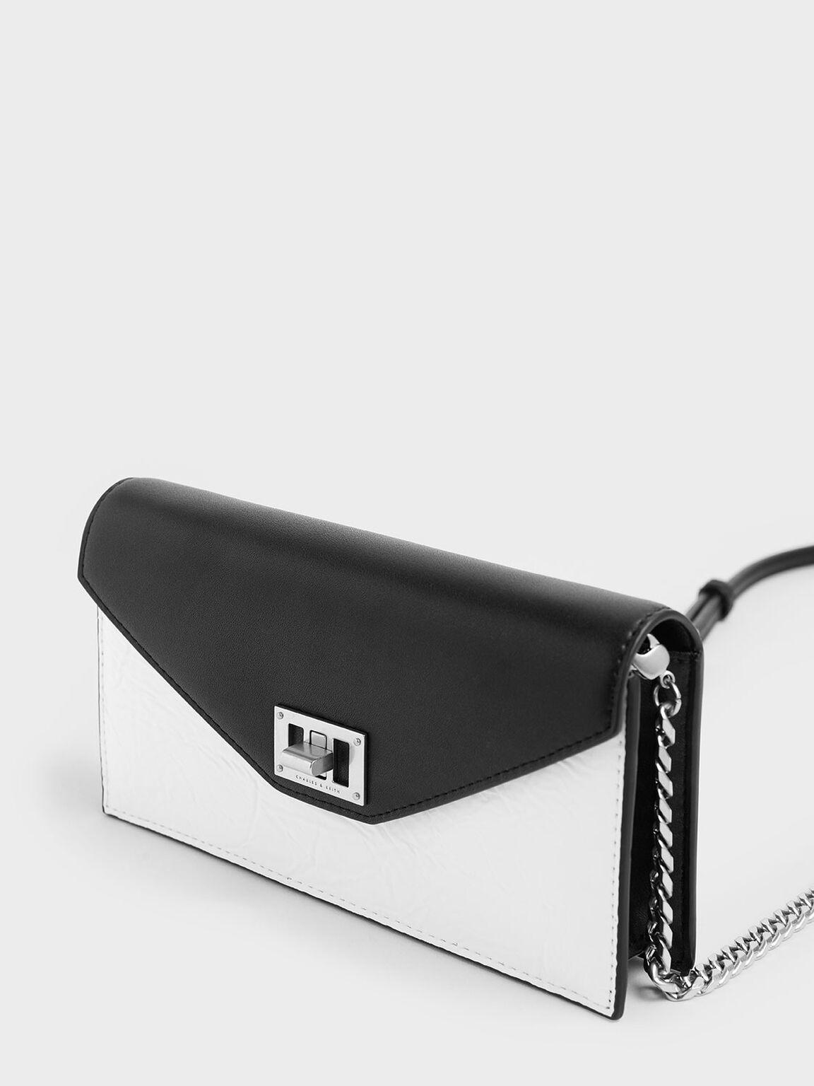 Two-Tone Wrinkled Effect Long Envelope Wallet, White, hi-res