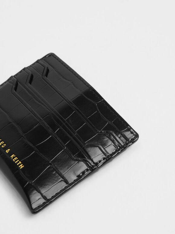 Croc-Effect Card Holder, Black, hi-res
