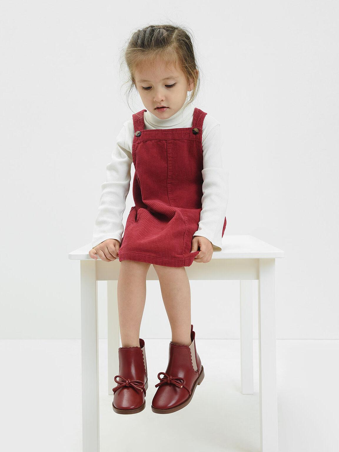 Girls' Scallop Detail Ribbon Tie Chelsea Boots, Brick, hi-res