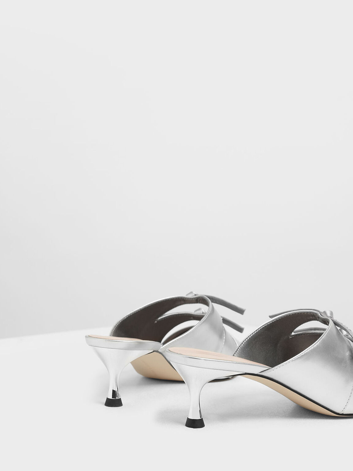 Bow Embellished Metallic Kitten Heel Mules, Silver, hi-res