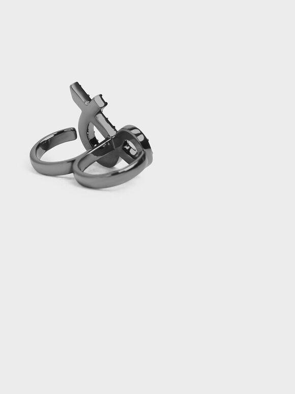 Crystal Encrusted Ampersand Double Ring, Black, hi-res