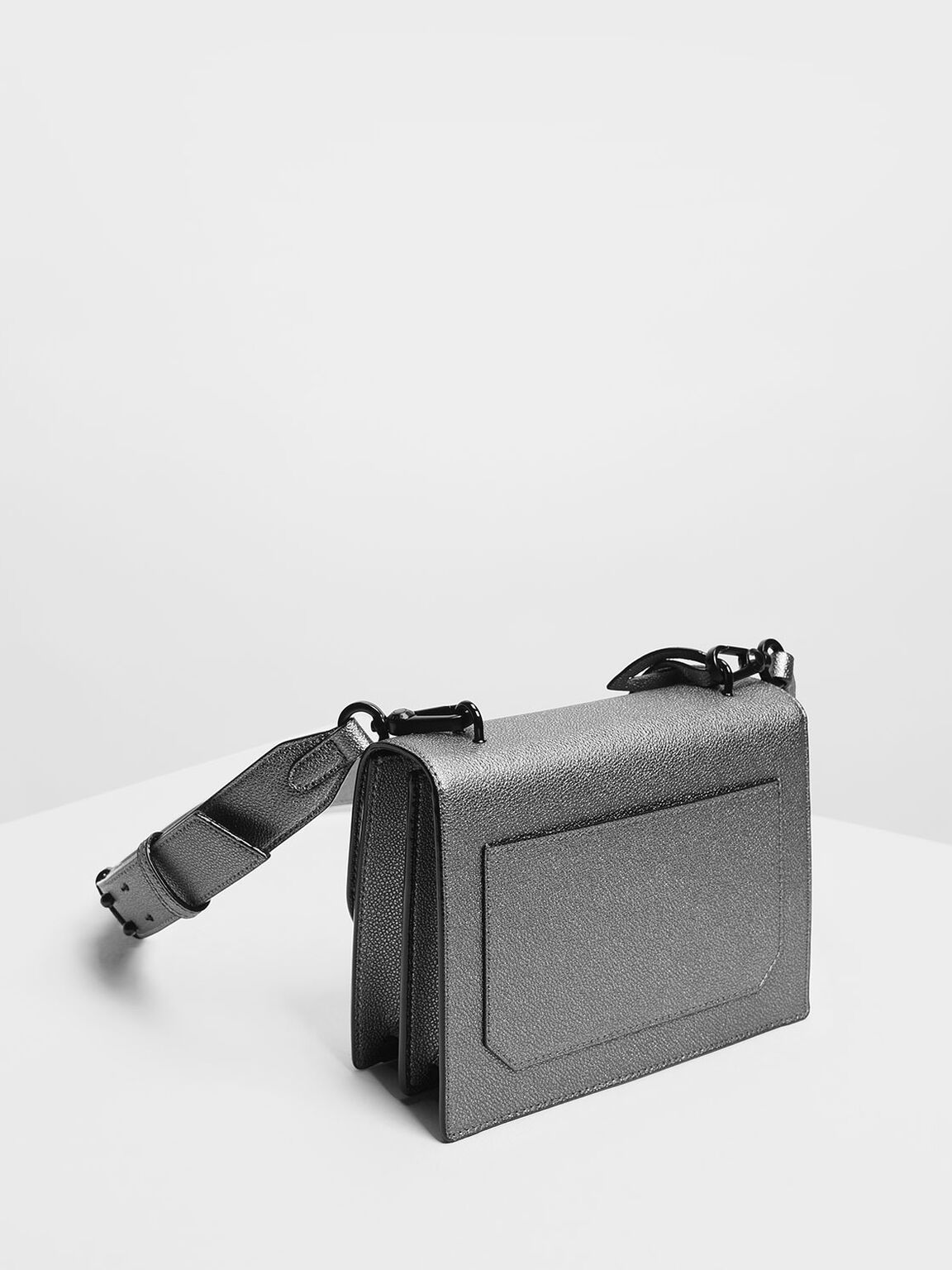 Structured Crossbody Bag, Pewter, hi-res