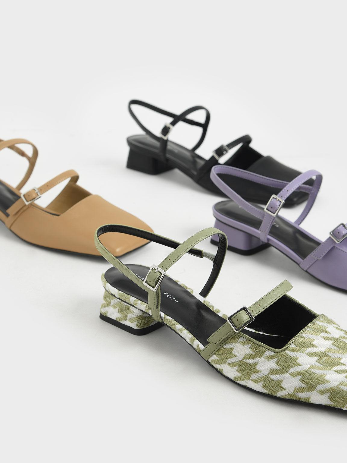 千鳥紋雙帶低跟鞋, 綠色, hi-res