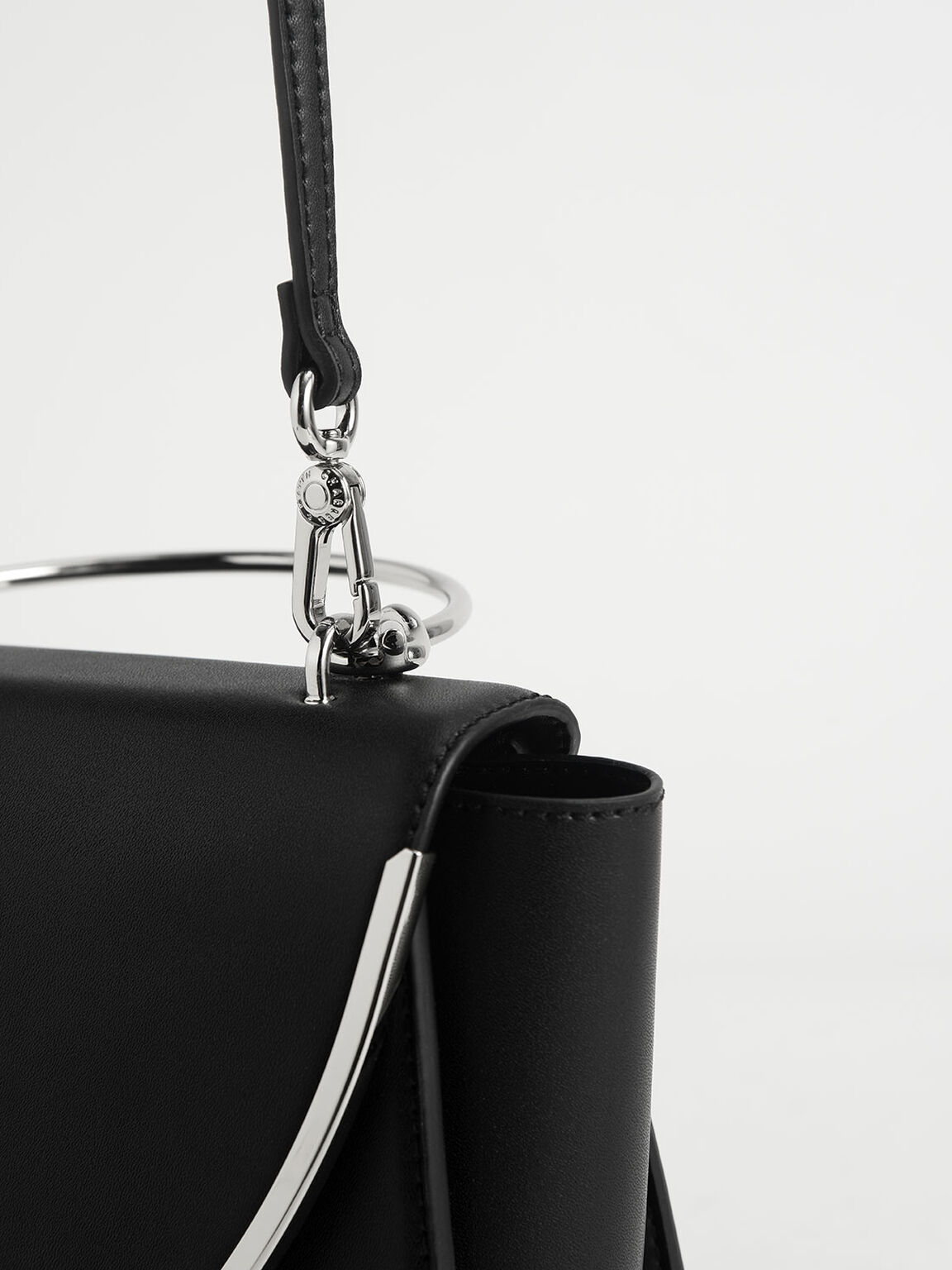 Metallic-Trimmed Front Flap Bag, Black, hi-res