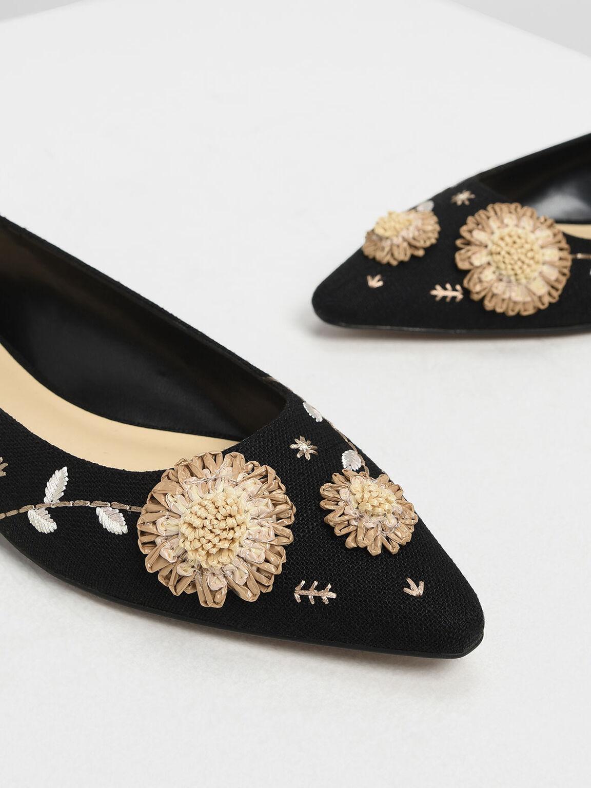 Floral Ballerinas, Black, hi-res