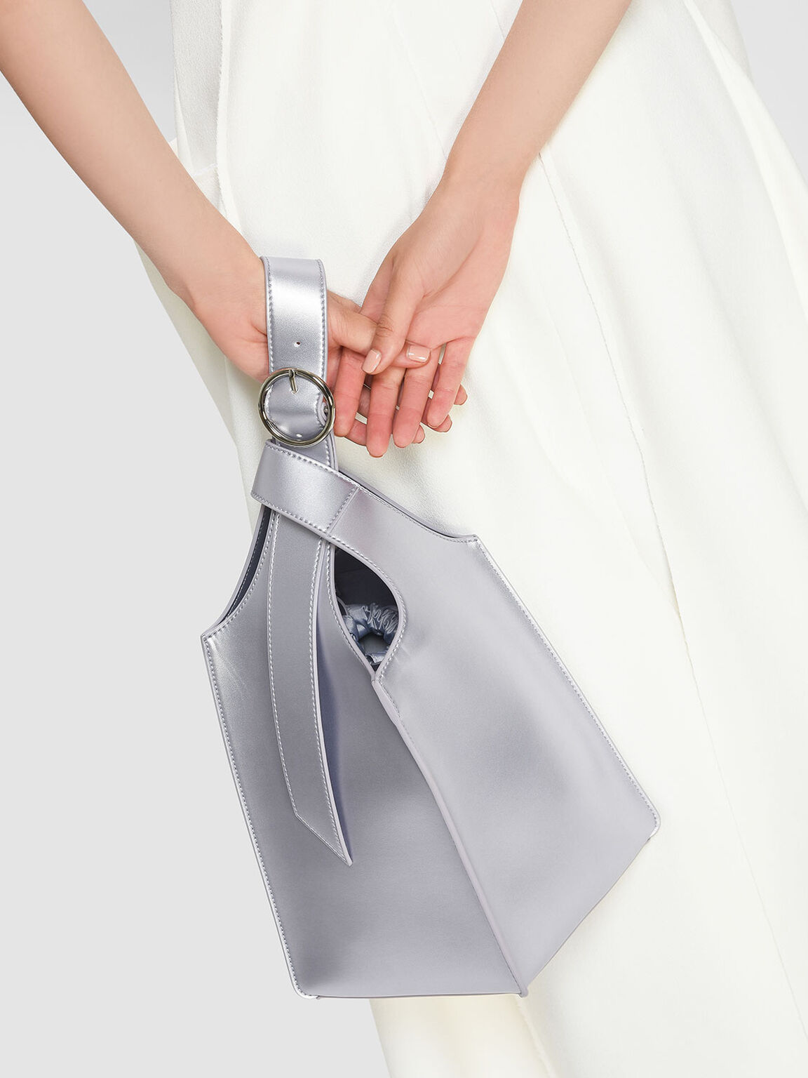 Elongated Handle Structured Bag, Grey, hi-res