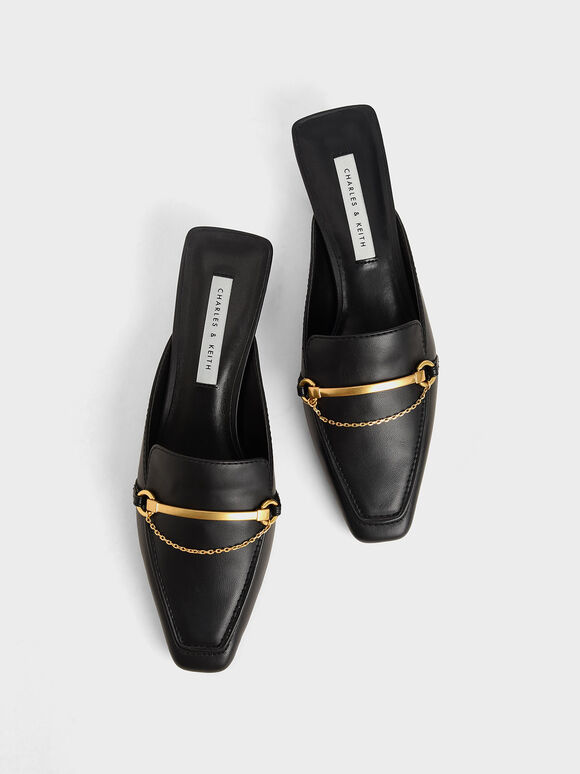 Metallic Accent Loafer Mules, Black, hi-res