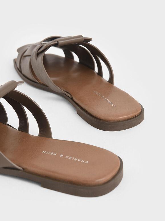 Woven Flat Mules, Dark Brown, hi-res