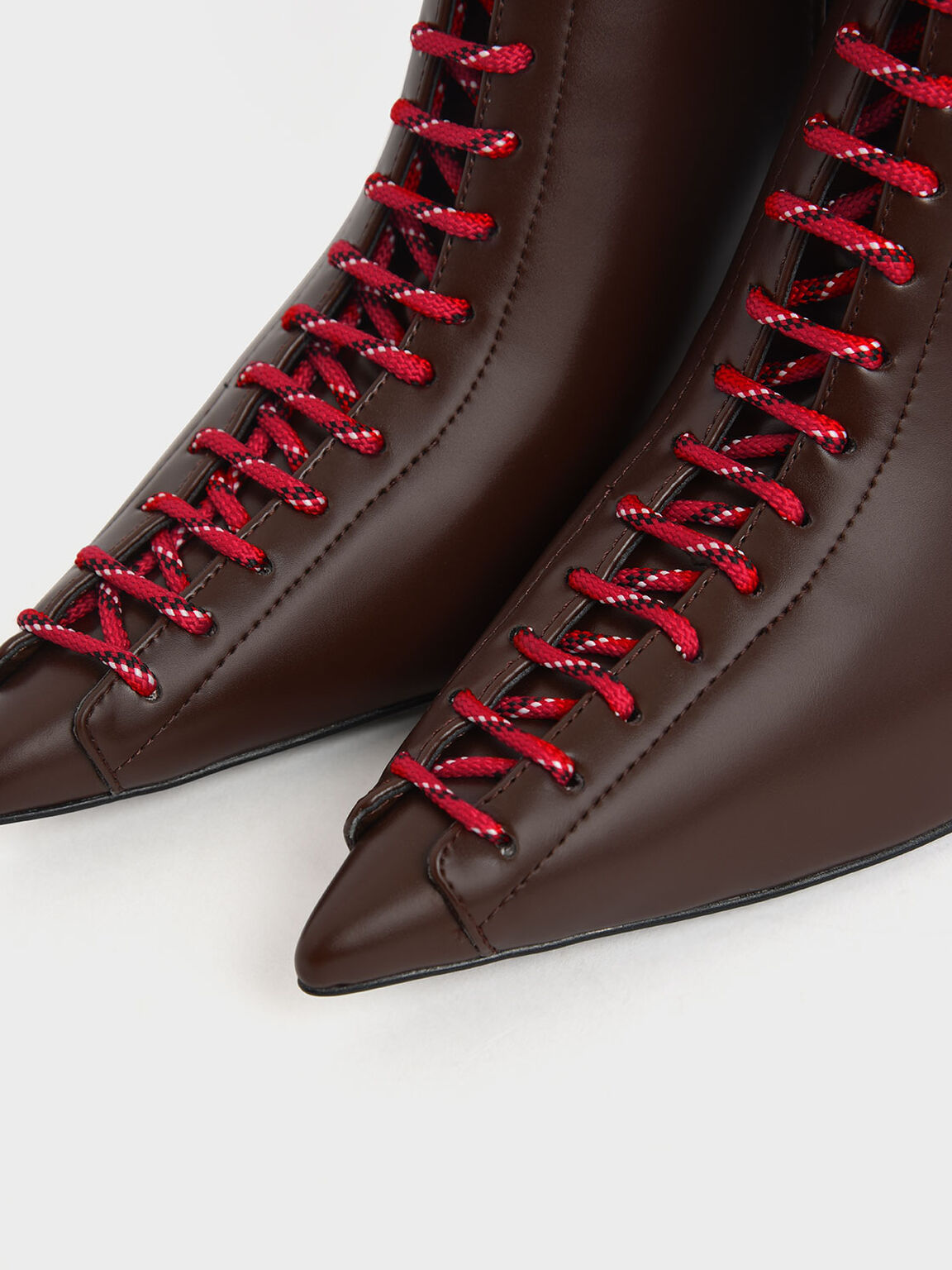 Nylon Lace-Up Ankle Boots, Dark Brown, hi-res
