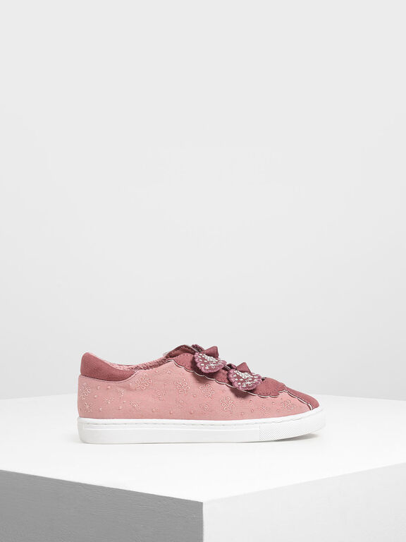 Girls' Floral Embroidered Slip-On Sneakers, Pink