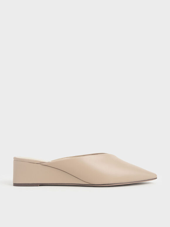 Pointed Toe Wedge Heel Mules, Beige, hi-res