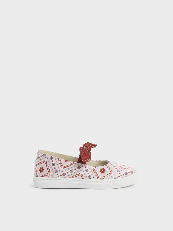 Summer 2020 Responsible Collection: Girls' Knotted Bandana Print Slip-On Sneakers, Pink, hi-res