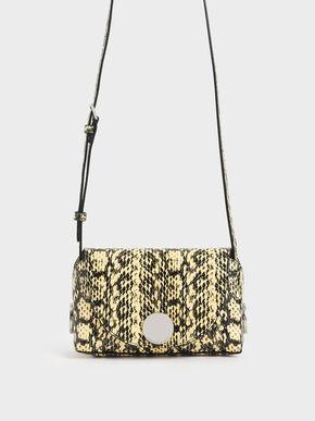 Snake Print Metal Accent Mini Crossbody Bag, Yellow