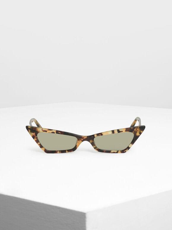 Angular Cat Eye Sunglasses, T. Shell, hi-res