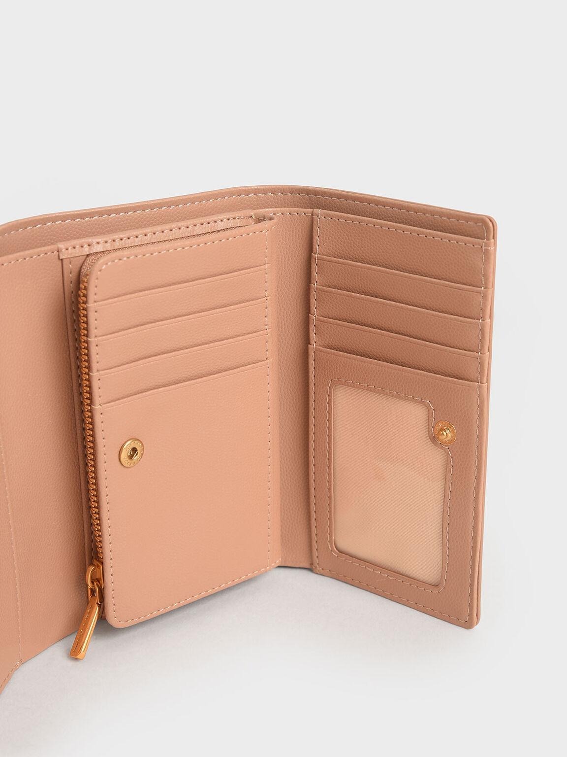 Metallic Accent Mini Short Wallet, Blush, hi-res
