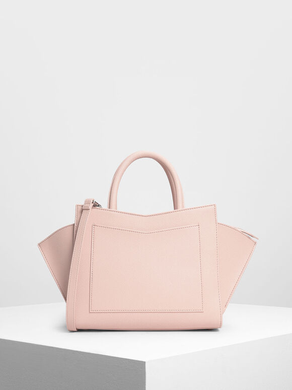 Geometric Structured City Bag, Pink, hi-res