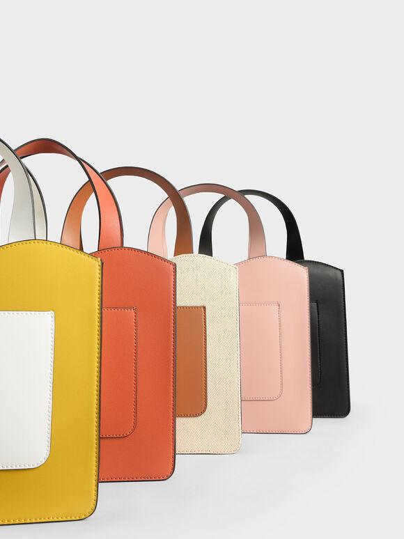 Front Pocket Double Top Handle Bag, Pink, hi-res
