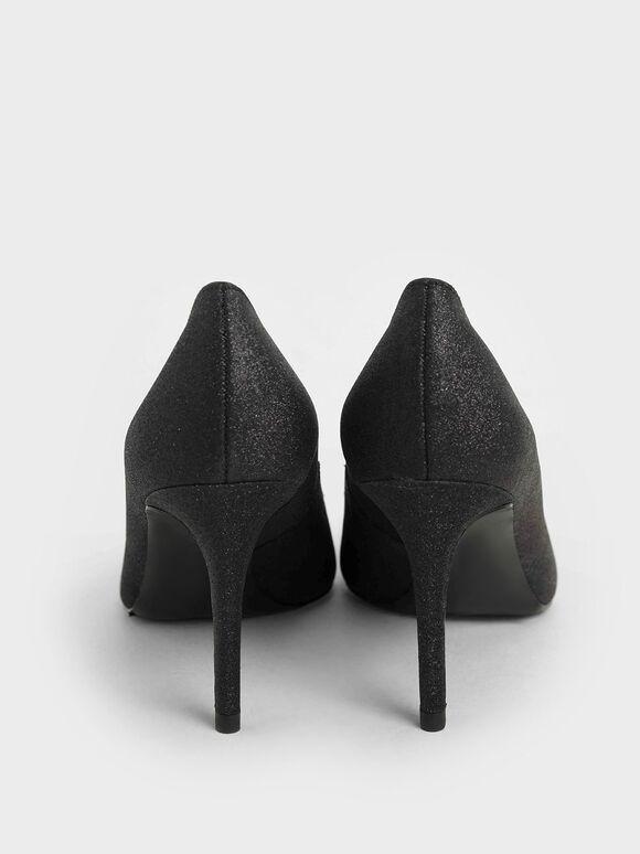 Glitter Pointed Toe Pumps, Black, hi-res