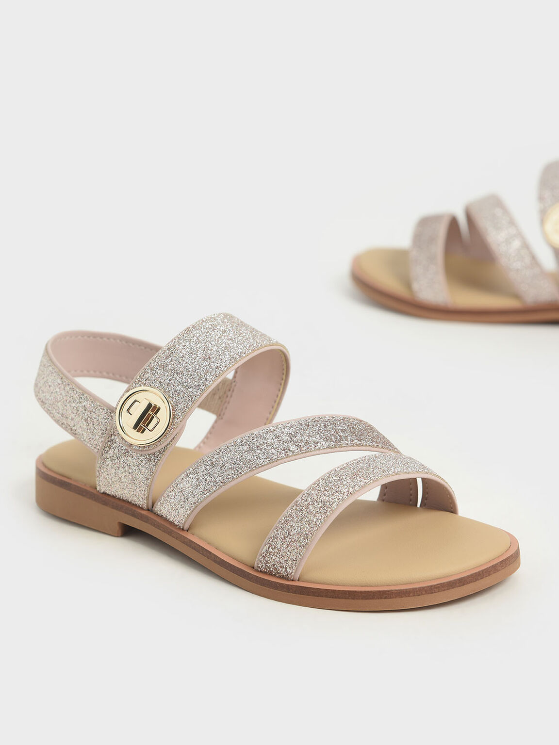 Girls' Glittered Metallic Buckle Sandals, Silver, hi-res