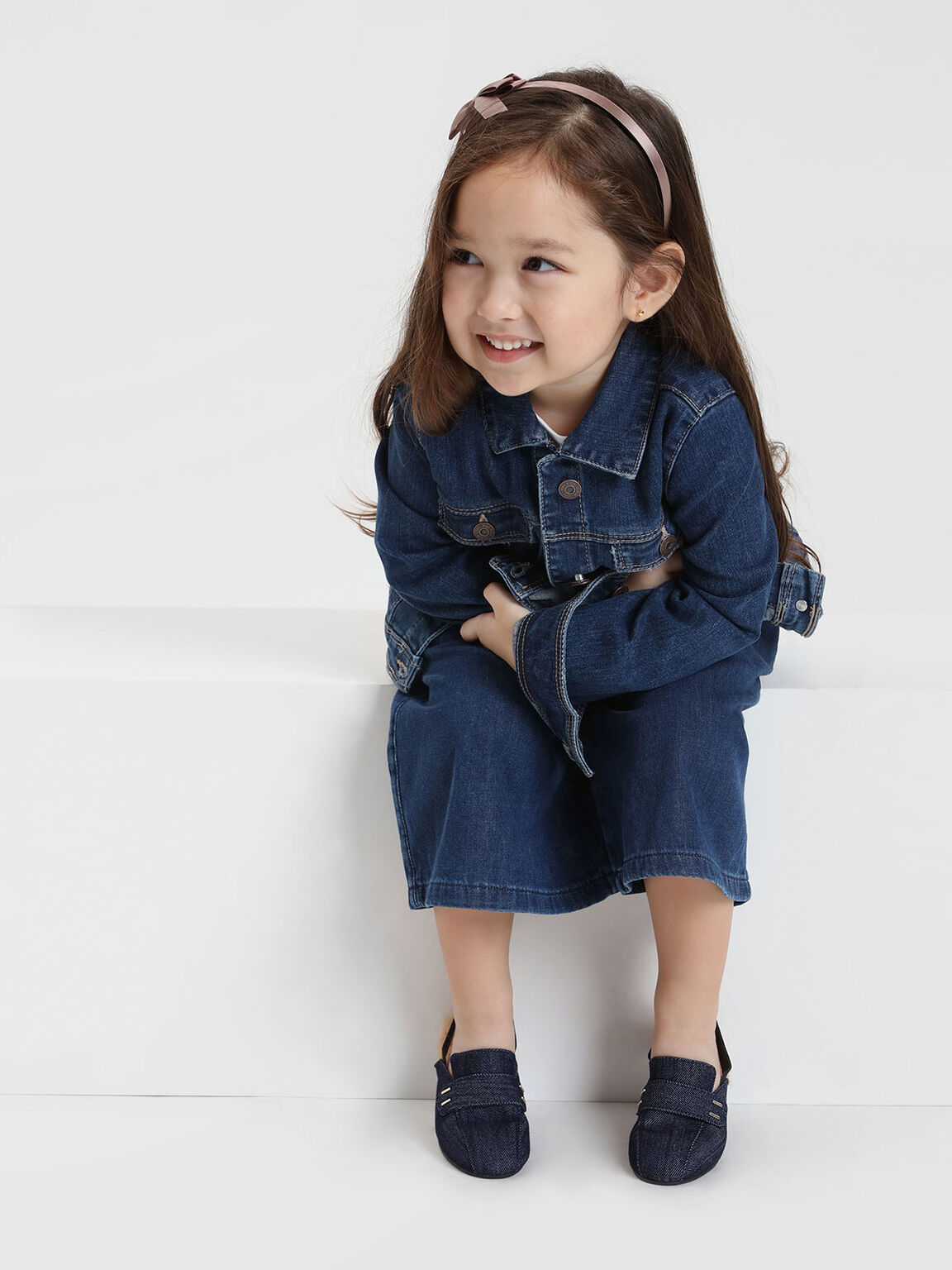 Kids Furry Detail Slingbacks, Blue, hi-res