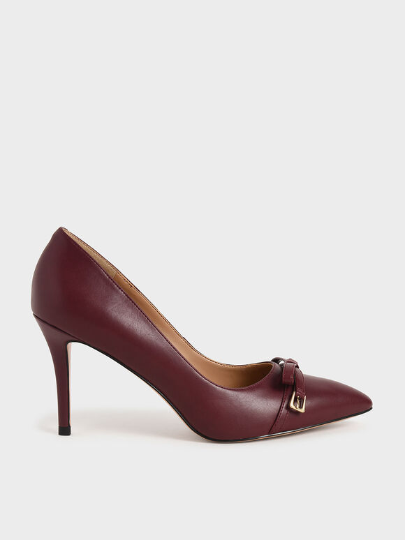 Bow Stiletto Pumps, Maroon, hi-res