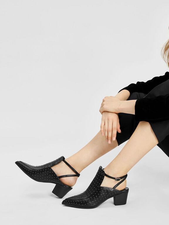 Micro Stud Embellished Heels, Black, hi-res