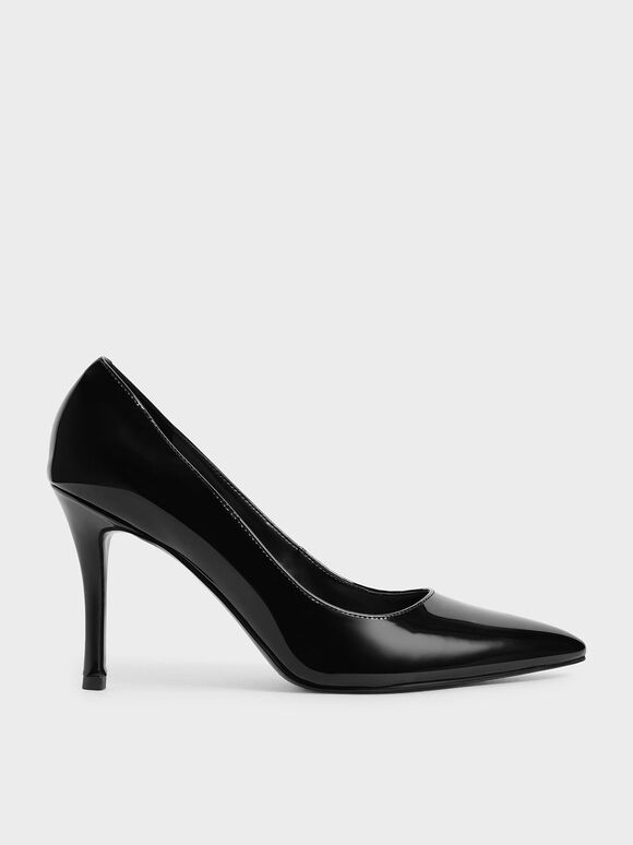 Patent Stiletto Pumps, Black, hi-res