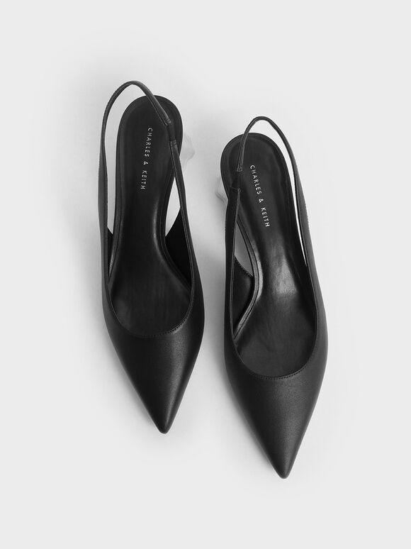 Geometric Heel Slingback Pumps, Black, hi-res