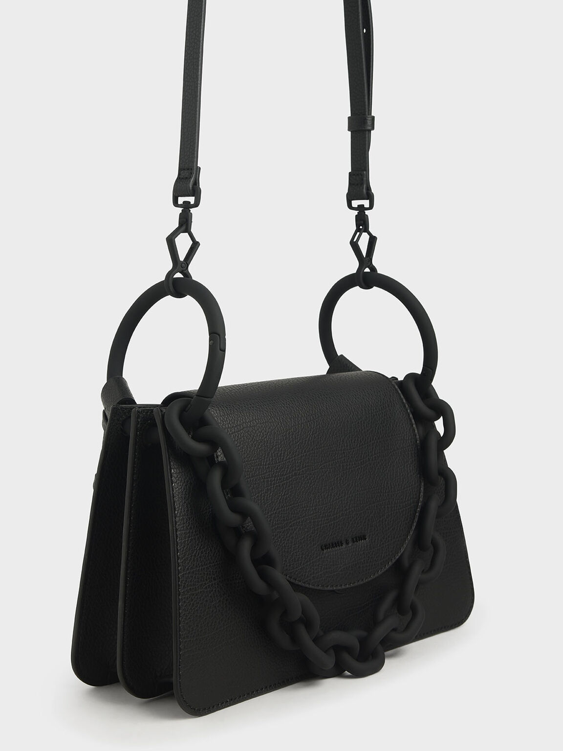 Chunky Chain Link Shoulder Bag, Black, hi-res