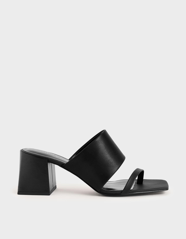 Black Block Heel Mules | CHARLES \u0026 KEITH KR