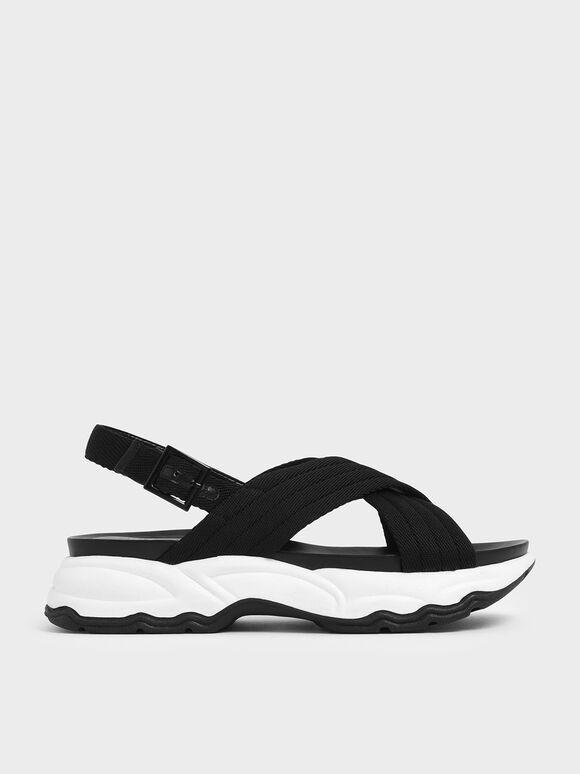 Nylon Criss Cross Chunky Platform Sandals, Black, hi-res