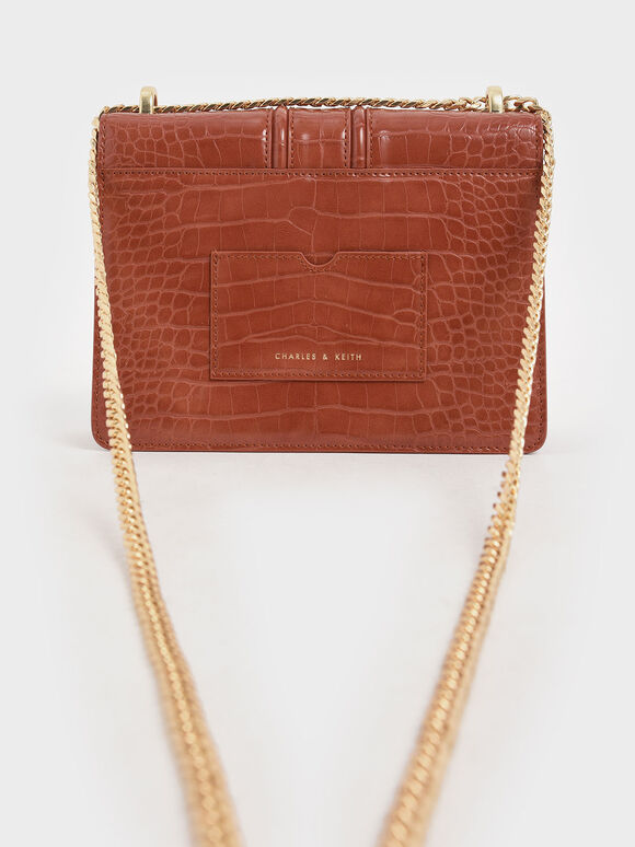 Croc-Effect Chain Strap Shoulder Bag, Clay, hi-res