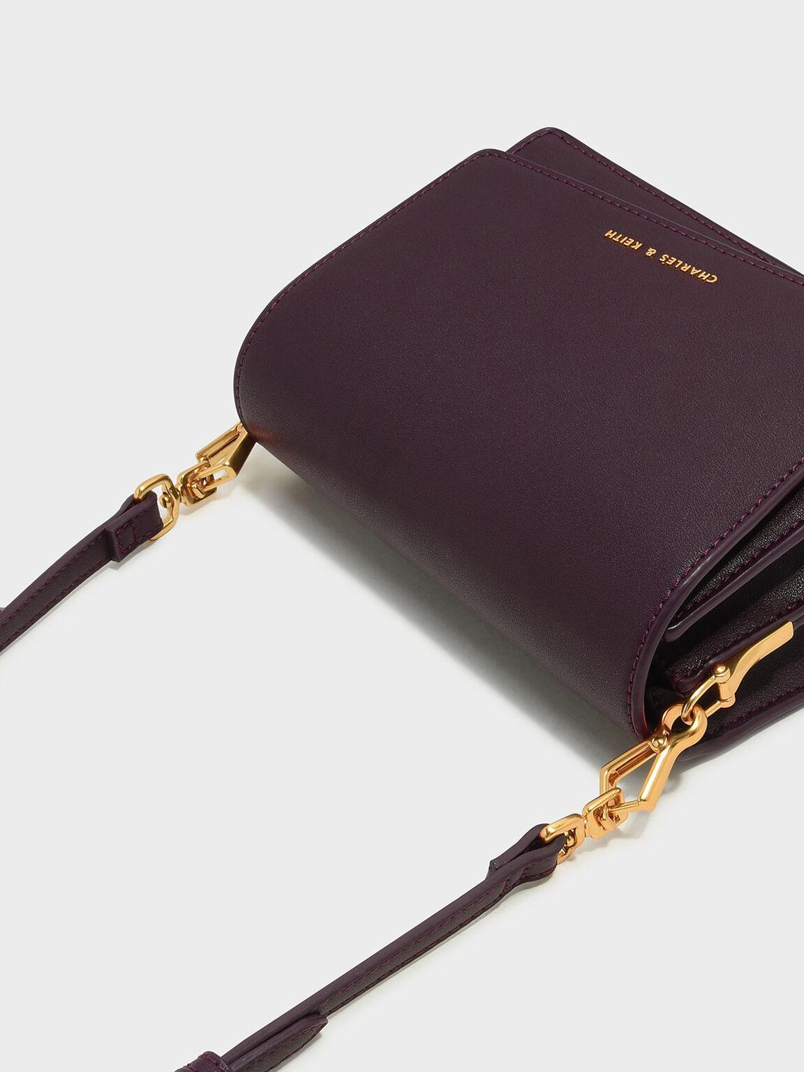 Asymmetric Front Flap Bag, Burgundy, hi-res