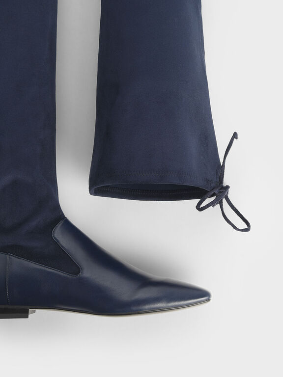 Thigh High Flat Sock Boots, Dark Blue