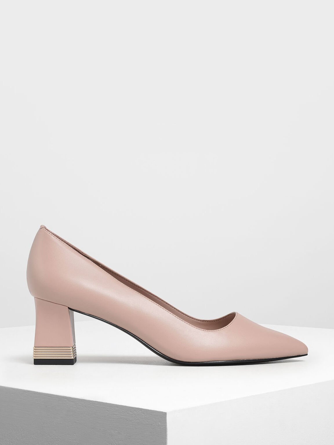 Metallic Accent Heel Pumps, Nude, hi-res