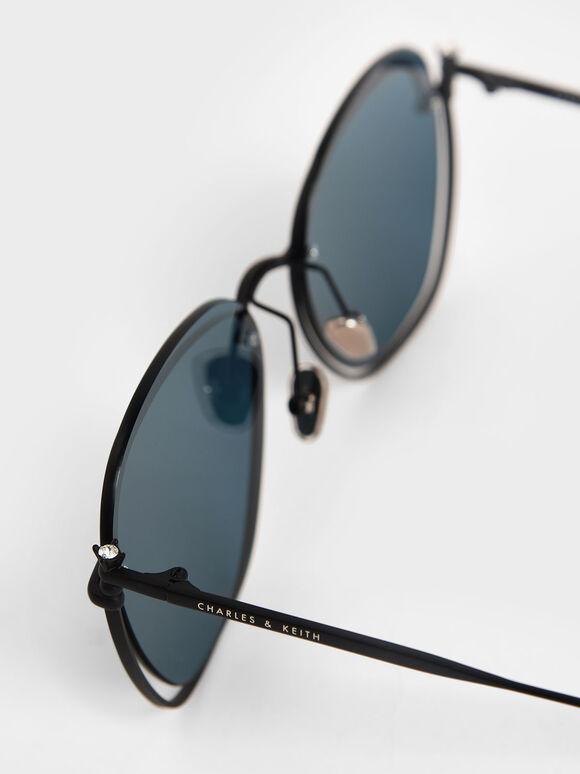 金屬透感墨鏡, 深藍色, hi-res