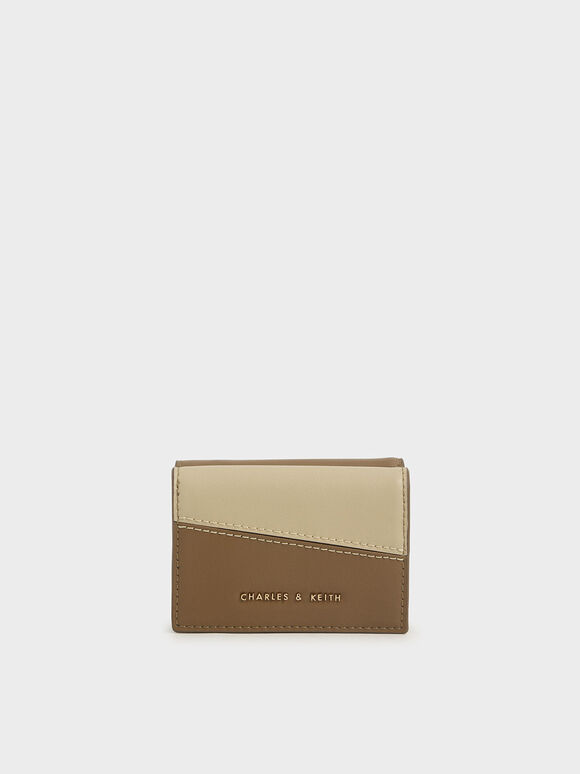 Two-Tone Stitch-Trim Wallet, Khaki, hi-res