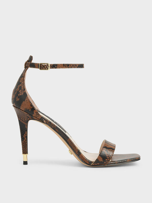 Snake Print Leather Stiletto Heels, Multi, hi-res