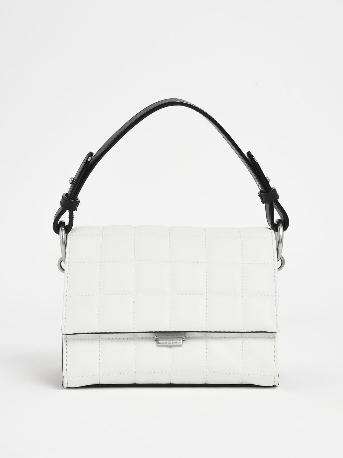 Two-Tone Quilted Push Lock Handbag, White, hi-res