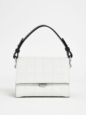 Two-Tone Quilted Push Lock Handbag, White