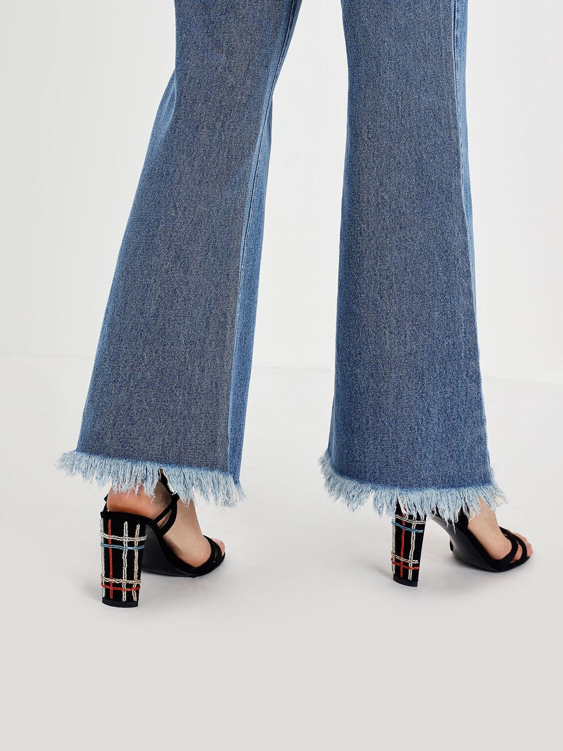 鑲鑽交叉帶高跟涼鞋, 黑色, hi-res