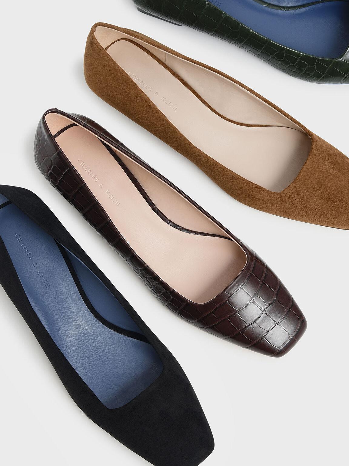 Textured Square Toe Ballerina Flats, Black, hi-res