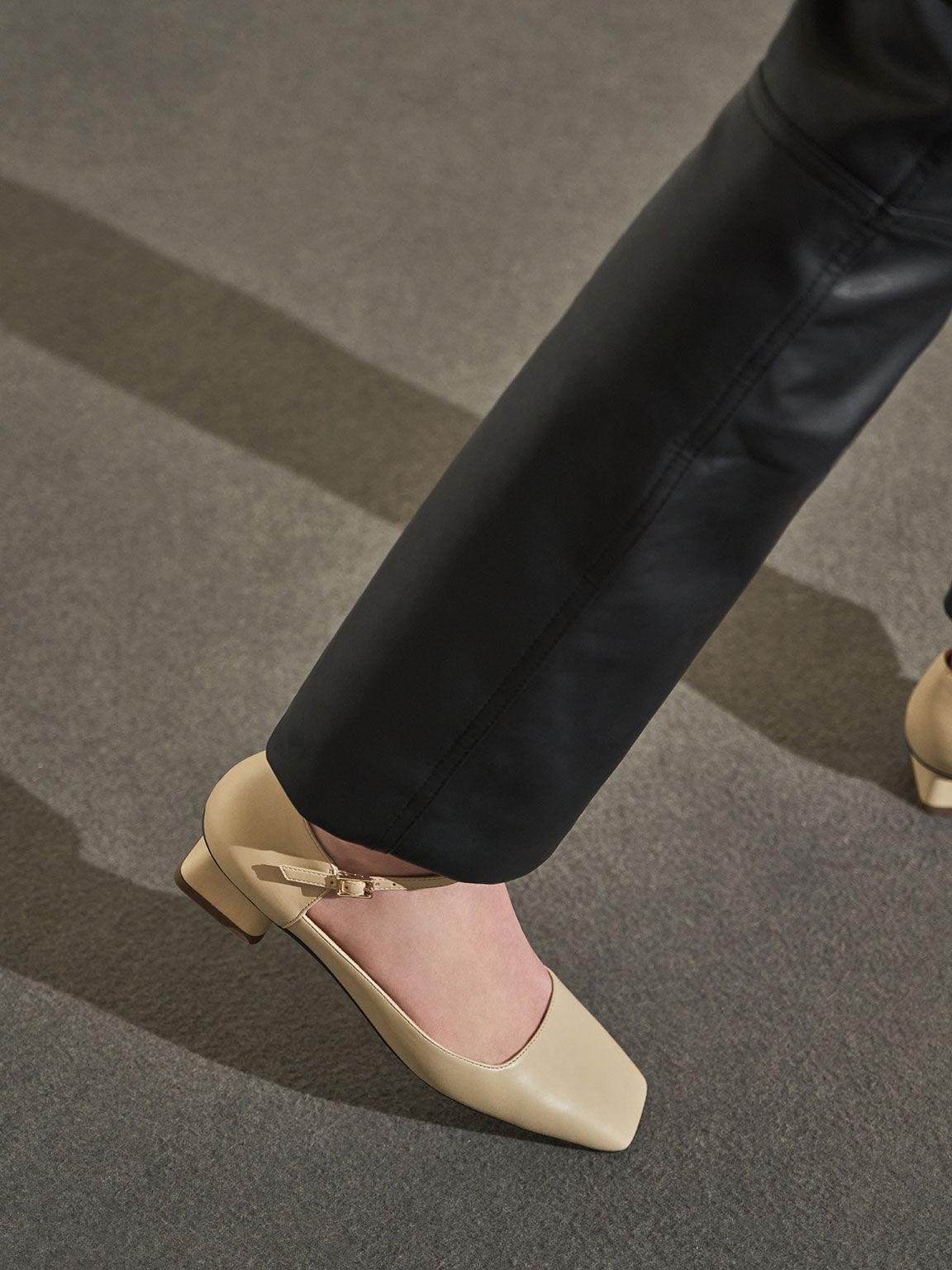 Square Toe Ankle Strap Pumps, Beige, hi-res