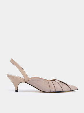 Ruched Patent Slingback Heels, Nude