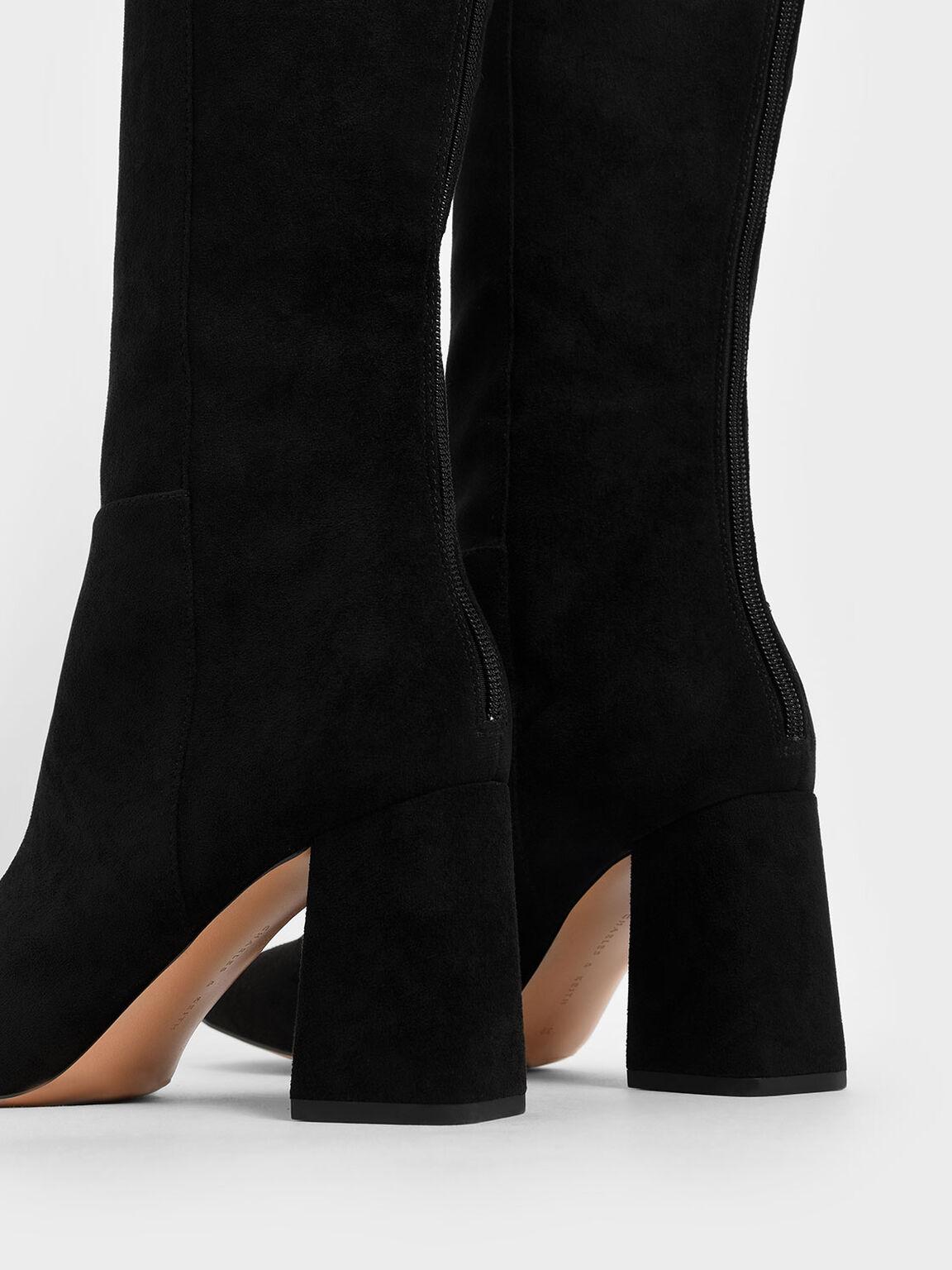 Textured Knee High Block Heel Boots, Black, hi-res