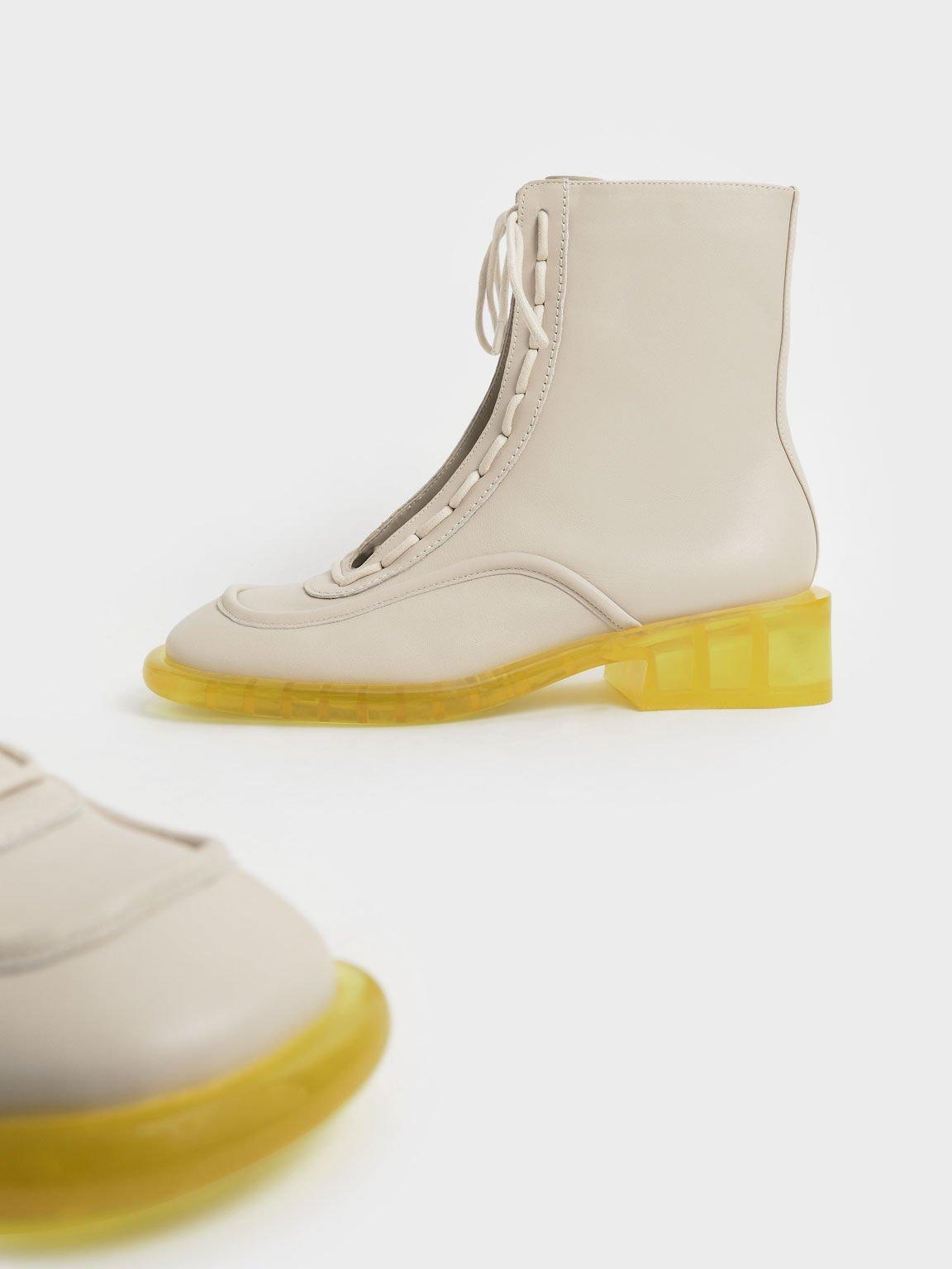 Fleur Leather Lace-Up Boots, Chalk, hi-res